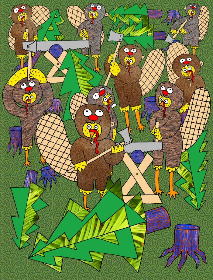 cocks in beaver suits chopping trees in color