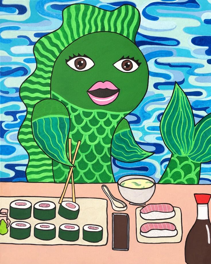 fish eating sushi